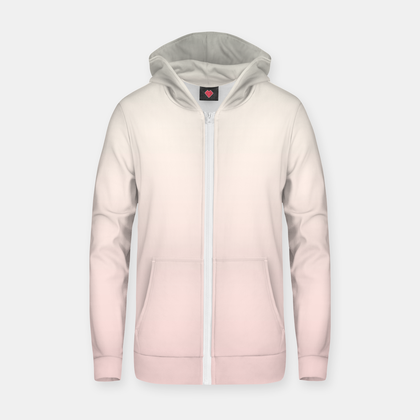 Image of Pastel pink beige duotone gradient ombre summer stylish color pure soft light blush monochrome Zip up hoodie - Live Heroes