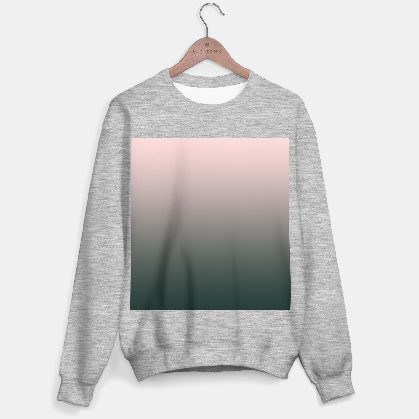 Image of Pastel pink dark green black gradient ombre stylish color pure soft modern monochrome Sweater regular - Live Heroes