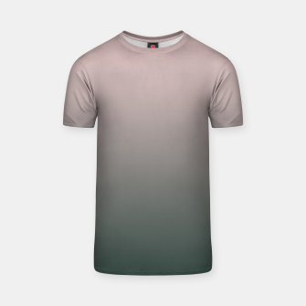 Miniatur Pastel pink dark green black gradient ombre stylish color pure soft modern monochrome T-shirt, Live Heroes