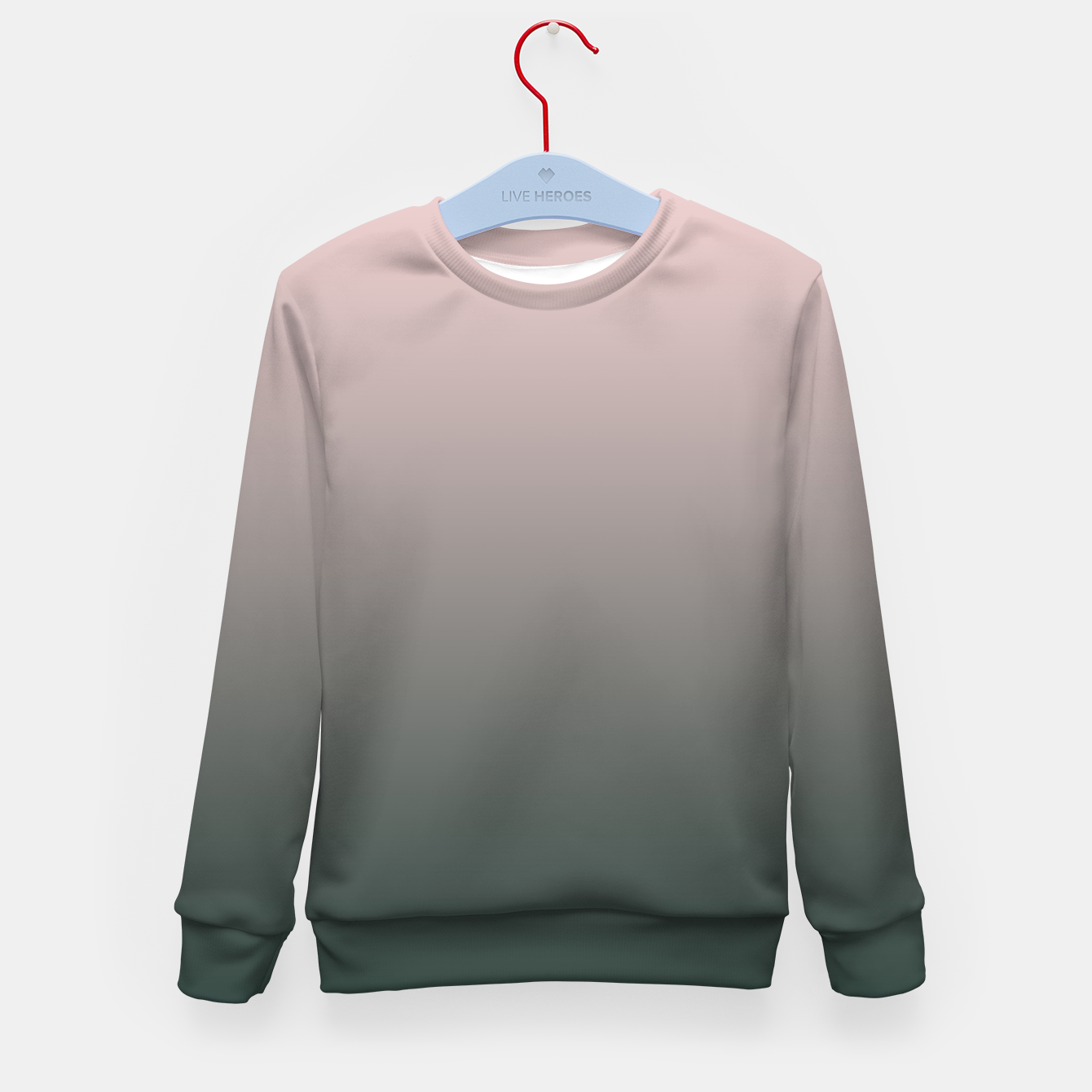Image of Pastel pink dark green black gradient ombre stylish color pure soft modern monochrome Kid's sweater - Live Heroes