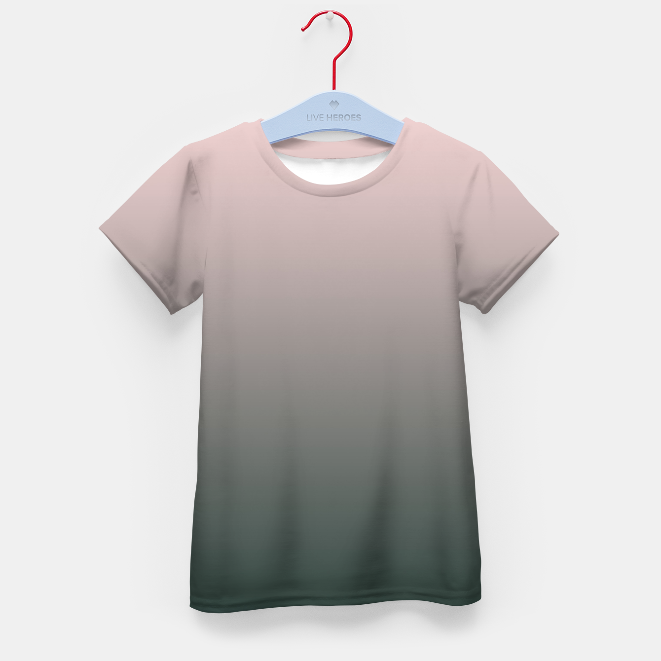 Image of Pastel pink dark green black gradient ombre stylish color pure soft modern monochrome Kid's t-shirt - Live Heroes