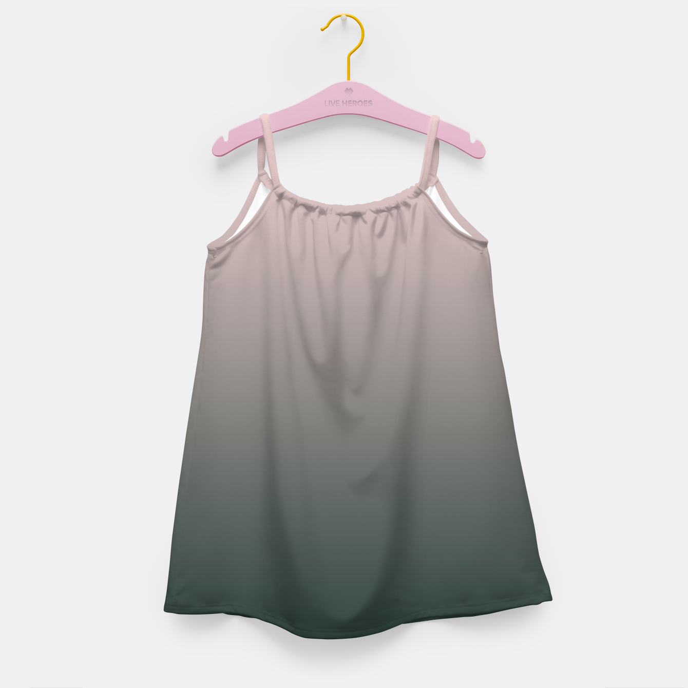 Image of Pastel pink dark green black gradient ombre stylish color pure soft modern monochrome Girl's dress - Live Heroes