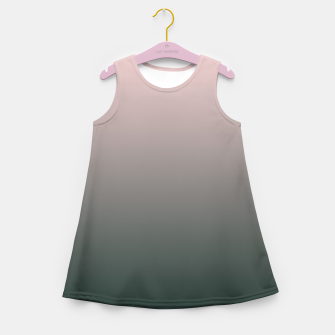 Miniatur Pastel pink dark green black gradient ombre stylish color pure soft modern monochrome Girl's summer dress, Live Heroes