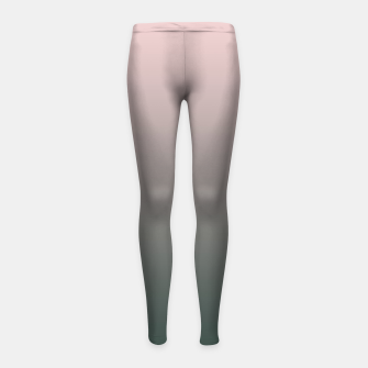 Pastel pink dark green black gradient ombre stylish color pure soft modern monochrome Girl's leggings thumbnail image