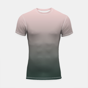 Thumbnail image of Pastel pink dark green black gradient ombre stylish color pure soft modern monochrome Shortsleeve rashguard, Live Heroes