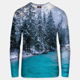Thumbnail image of Magical river in enchanted winter forest Unisex sweater, Live Heroes