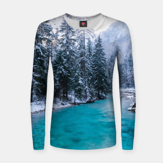 Thumbnail image of Magical river in enchanted winter forest Women sweater, Live Heroes