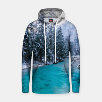 Thumbnail image of Magical river in enchanted winter forest Hoodie, Live Heroes