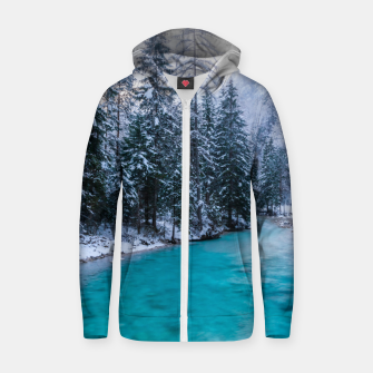 Thumbnail image of Magical river in enchanted winter forest Zip up hoodie, Live Heroes