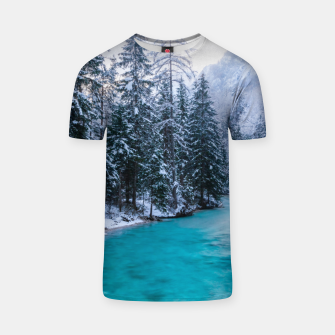 Thumbnail image of Magical river in enchanted winter forest T-shirt, Live Heroes