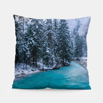 Thumbnail image of Magical river in enchanted winter forest Pillow, Live Heroes