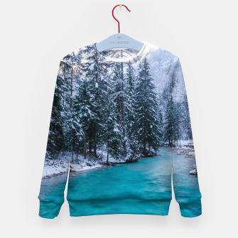 Thumbnail image of Magical river in enchanted winter forest Kid's sweater, Live Heroes