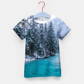 Thumbnail image of Magical river in enchanted winter forest Kid's t-shirt, Live Heroes