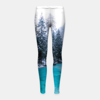Thumbnail image of Magical river in enchanted winter forest Girl's leggings, Live Heroes