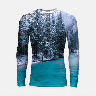 Thumbnail image of Magical river in enchanted winter forest Longsleeve rashguard , Live Heroes