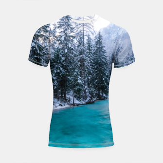 Thumbnail image of Magical river in enchanted winter forest Shortsleeve rashguard, Live Heroes