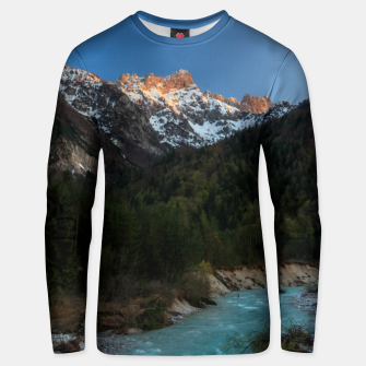 Thumbnail image of Magical sunset over the mountains and river Unisex sweater, Live Heroes