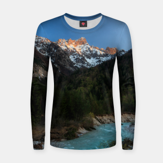 Thumbnail image of Magical sunset over the mountains and river Women sweater, Live Heroes