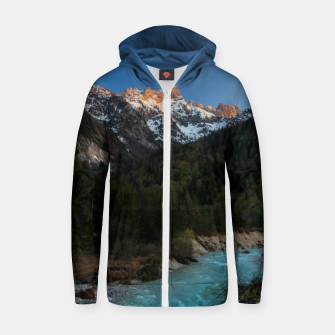 Thumbnail image of Magical sunset over the mountains and river Zip up hoodie, Live Heroes