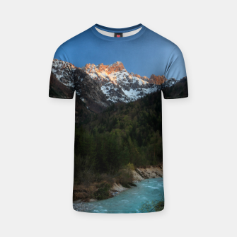 Thumbnail image of Magical sunset over the mountains and river T-shirt, Live Heroes