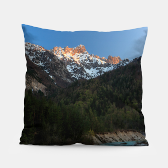 Thumbnail image of Magical sunset over the mountains and river Pillow, Live Heroes