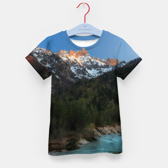 Thumbnail image of Magical sunset over the mountains and river Kid's t-shirt, Live Heroes