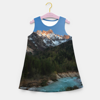 Thumbnail image of Magical sunset over the mountains and river Girl's summer dress, Live Heroes