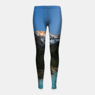Thumbnail image of Magical sunset over the mountains and river Girl's leggings, Live Heroes