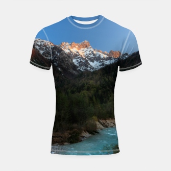 Thumbnail image of Magical sunset over the mountains and river Shortsleeve rashguard, Live Heroes