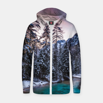 Thumbnail image of Magical sunset with turquoise river in Mojstrana, Slovenia Zip up hoodie, Live Heroes
