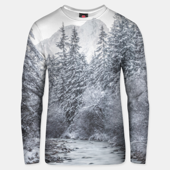 Thumbnail image of River flowing through snowy winter forest Mojstrana, Slovenia Unisex sweater, Live Heroes