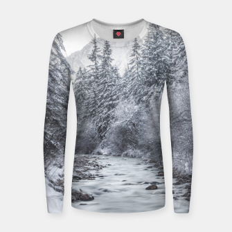 Thumbnail image of River flowing through snowy winter forest Mojstrana, Slovenia Women sweater, Live Heroes