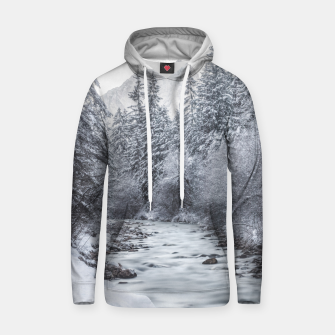 Miniature de image de River flowing through snowy winter forest Mojstrana, Slovenia Hoodie, Live Heroes