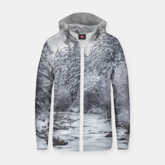 Thumbnail image of River flowing through snowy winter forest Mojstrana, Slovenia Zip up hoodie, Live Heroes