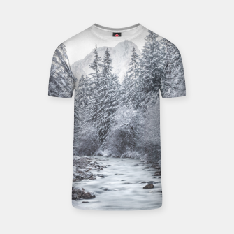 Thumbnail image of River flowing through snowy winter forest Mojstrana, Slovenia T-shirt, Live Heroes