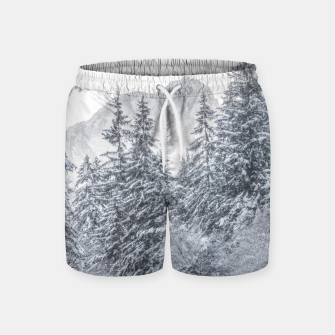 Thumbnail image of River flowing through snowy winter forest Mojstrana, Slovenia Swim Shorts, Live Heroes