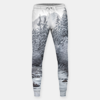 Thumbnail image of River flowing through snowy winter forest Mojstrana, Slovenia Sweatpants, Live Heroes