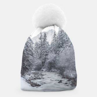 Thumbnail image of River flowing through snowy winter forest Mojstrana, Slovenia Beanie, Live Heroes