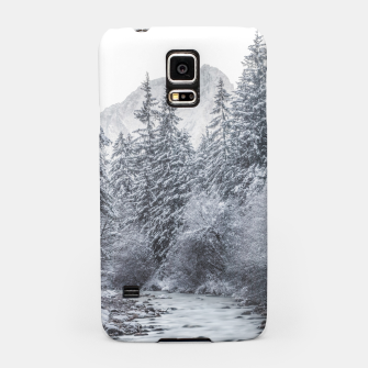 Thumbnail image of River flowing through snowy winter forest Mojstrana, Slovenia Samsung Case, Live Heroes