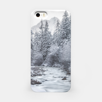Thumbnail image of River flowing through snowy winter forest Mojstrana, Slovenia iPhone Case, Live Heroes