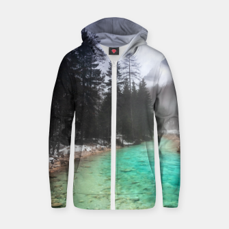 Miniatur Turquoise water in Mojstrana, Slovenia Zip up hoodie, Live Heroes