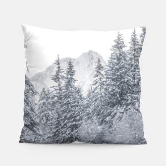Thumbnail image of River flowing through snowy winter forest Mojstrana, Slovenia Pillow, Live Heroes