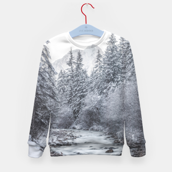 Thumbnail image of River flowing through snowy winter forest Mojstrana, Slovenia Kid's sweater, Live Heroes