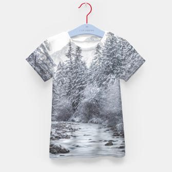 Thumbnail image of River flowing through snowy winter forest Mojstrana, Slovenia Kid's t-shirt, Live Heroes
