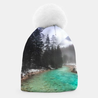 Miniatur Turquoise water in Mojstrana, Slovenia Beanie, Live Heroes