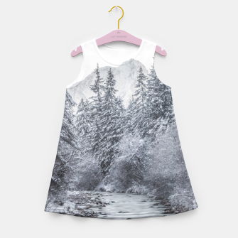 Thumbnail image of River flowing through snowy winter forest Mojstrana, Slovenia Girl's summer dress, Live Heroes