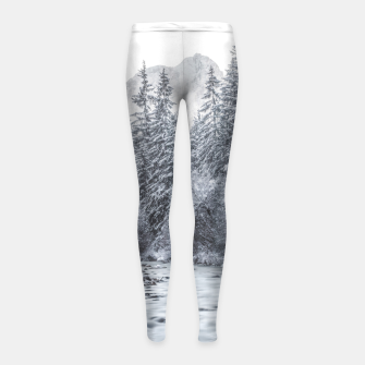 Thumbnail image of River flowing through snowy winter forest Mojstrana, Slovenia Girl's leggings, Live Heroes