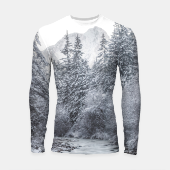 Thumbnail image of River flowing through snowy winter forest Mojstrana, Slovenia Longsleeve rashguard , Live Heroes