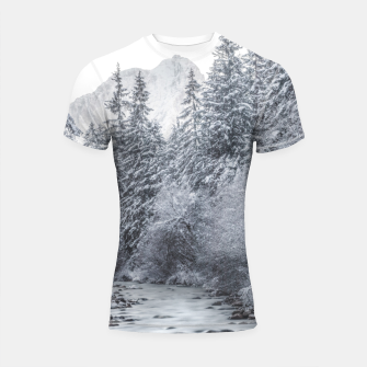 Thumbnail image of River flowing through snowy winter forest Mojstrana, Slovenia Shortsleeve rashguard, Live Heroes