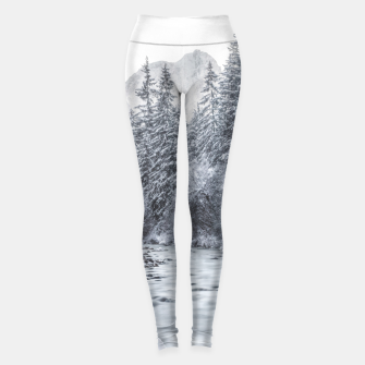 Thumbnail image of River flowing through snowy winter forest Mojstrana, Slovenia Leggings, Live Heroes